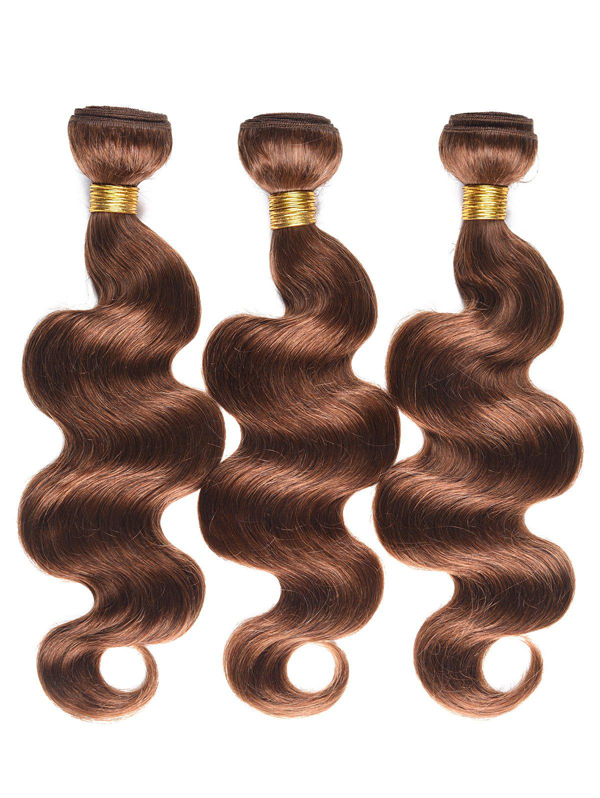 Real Human Hair Body Wave Hair Wefts - BROWN 16INCH*16INCH*16INCH
