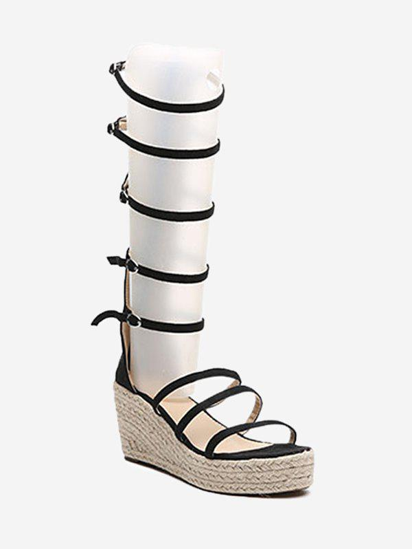 Espadrille Wedge Heel Strappy Buckles Sandals - BLACK 35