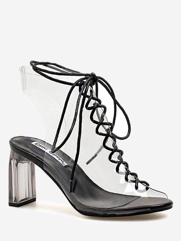 Block Heel Transparent Lace Up Hollow Out Sandals - BLACK 39
