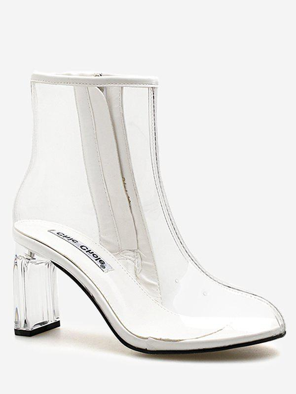Chic High Heel Clear PVC Ankle Boots - WHITE 38