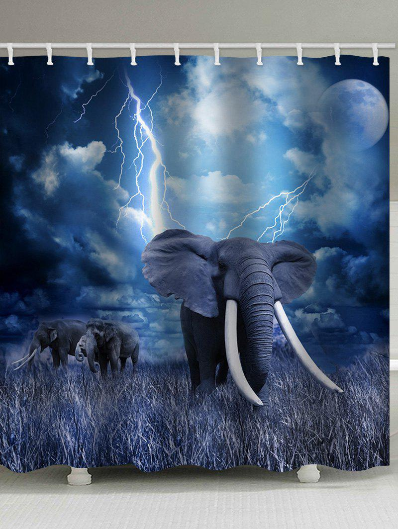 Elephant Lightning Print Waterproof Bathroom Curtain - BLUE W59 INCH * L71 INCH