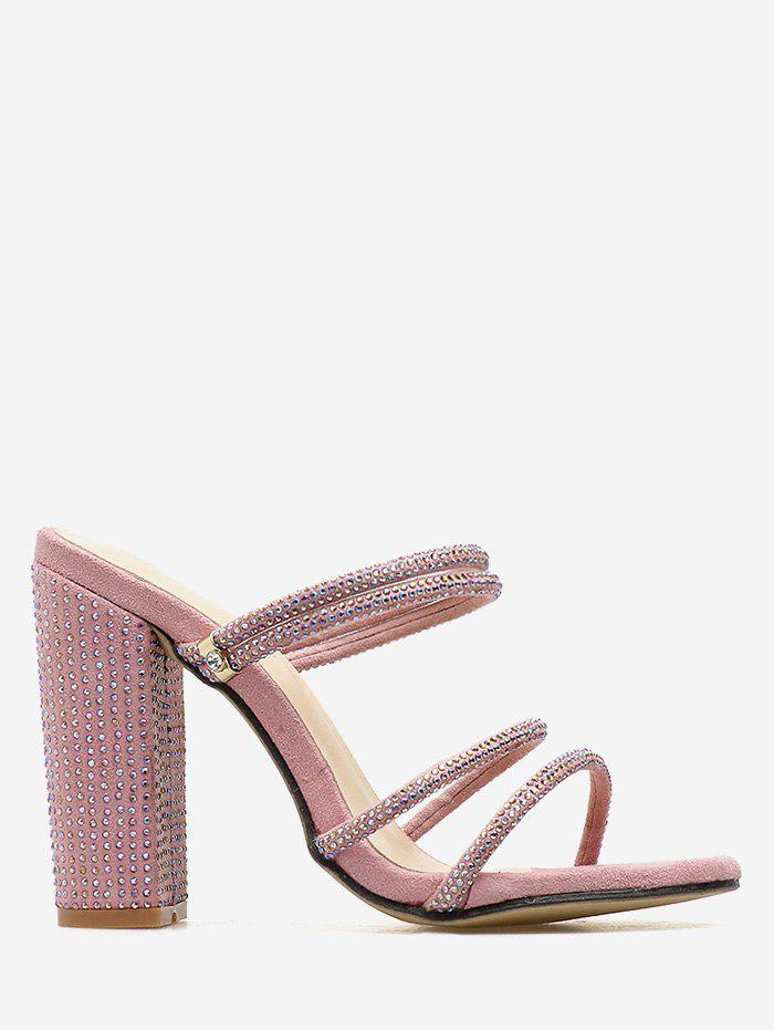Rhinestone Strap High Heel Pumps - LIGHT PINK 40