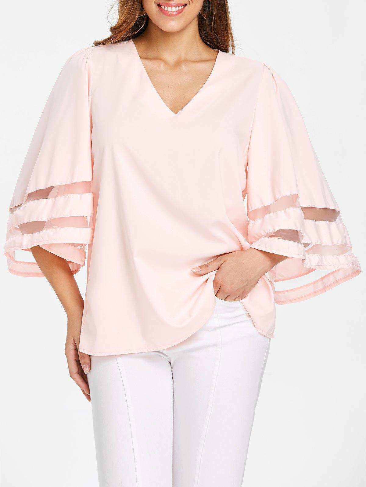 V Neck Plain Blouse - LIGHT PINK 2XL