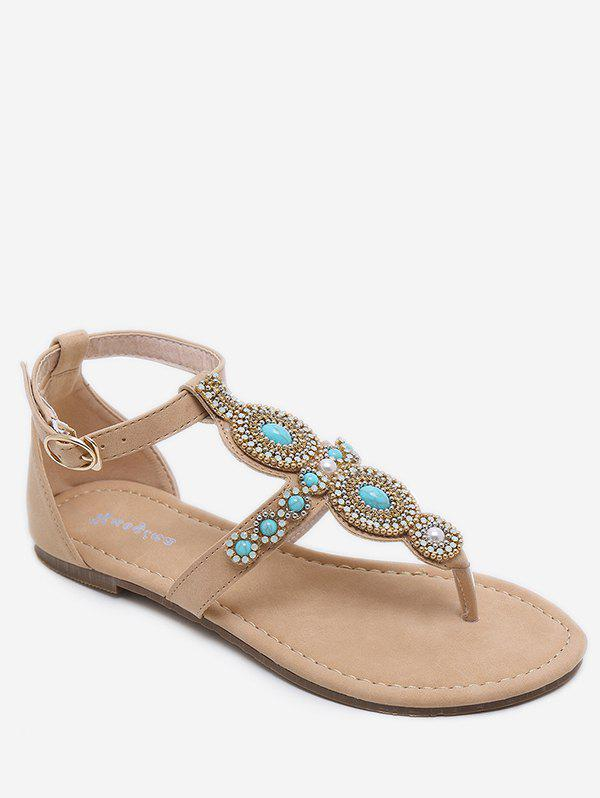 Crystal Decoration T Strap Ankle Wrap Thong Sandals - APRICOT 36