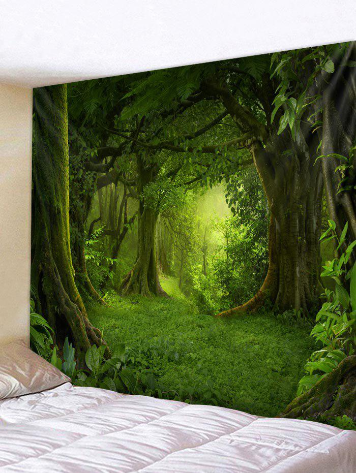 Forest Pattern Wall Tapestry Decoration - SEAWEED GREEN W79 INCH * L59 INCH
