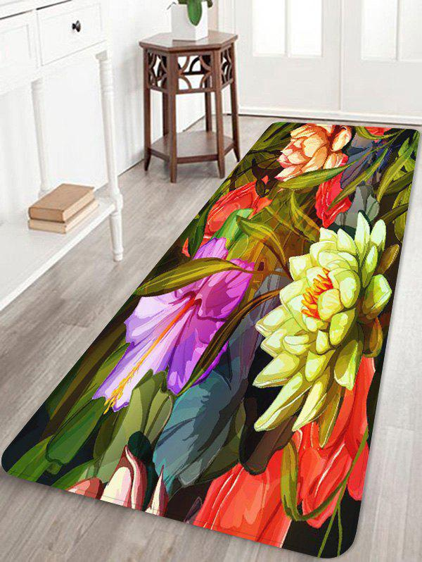 Coral Fleece Flower Print Skidproof Area Mat - multicolor W16 INCH * L47 INCH