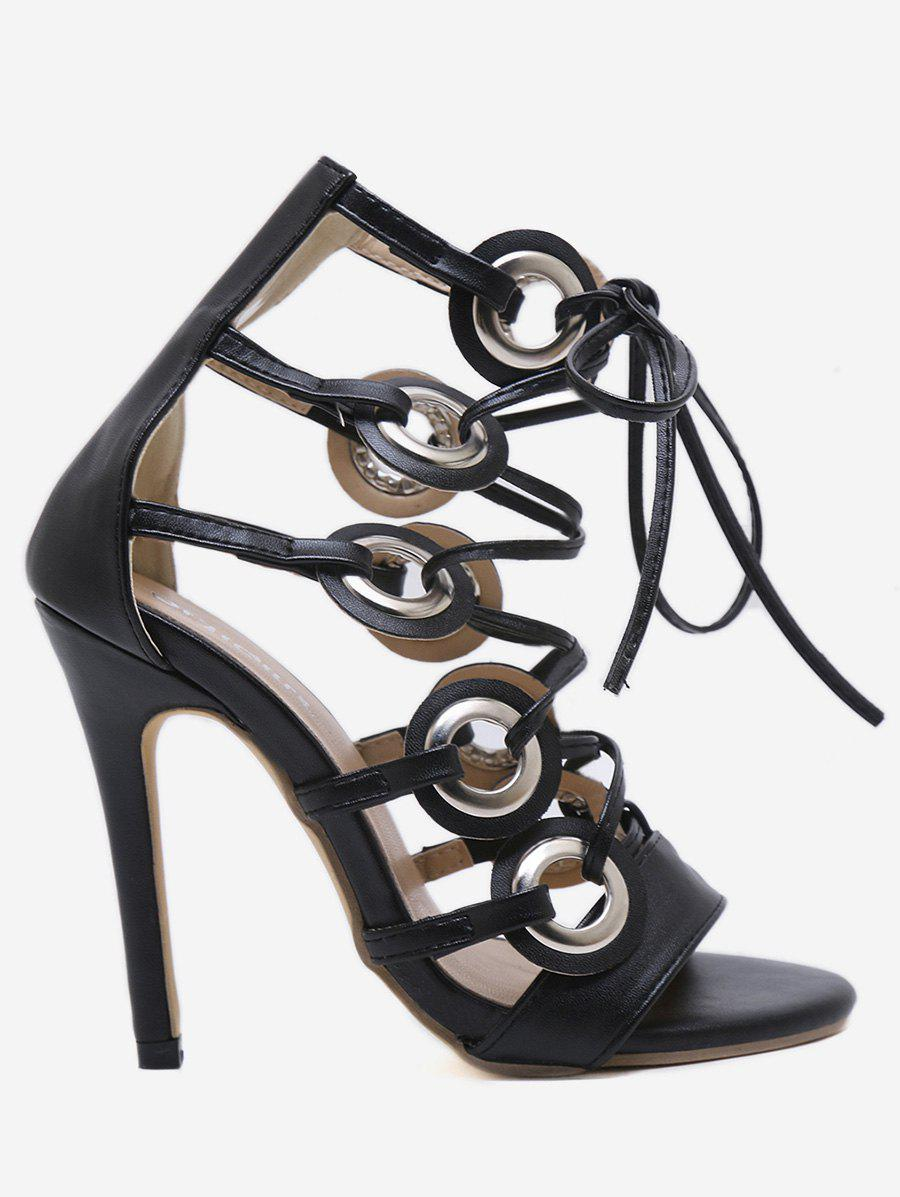 Cut Out Lace Up High Heel Pumps - BLACK 39