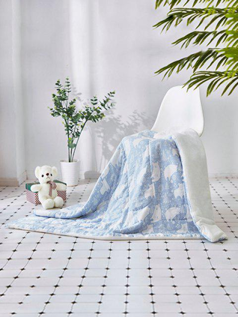 Bear Tree Printed Soft Towel Blanket - JEANS BLUE W39INCH*L55INCH