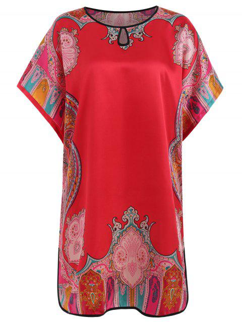 Satin Print Nightdress - LOVE RED ONE SIZE