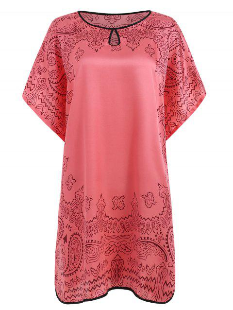 Tribal Print Oversized Sleepwear Dress - WATERMELON PINK ONE SIZE