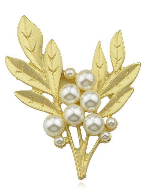 Artificial Pearl Hollow Tree Brooch - GOLD