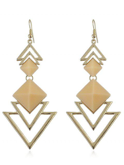 Hollow Layer Triangle Alloy Dangle Earrings - PEACH