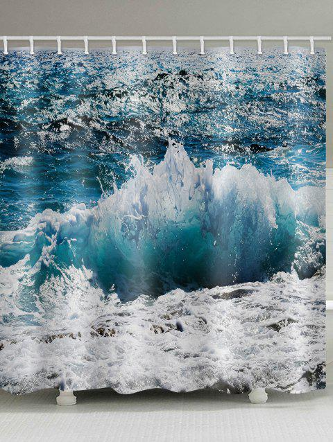 Ocean Waves Pattern Waterproof Shower Curtain - multicolor W59 INCH * L71 INCH