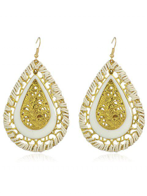Hollow out Water Drop Design Hook Earrings - WHITE