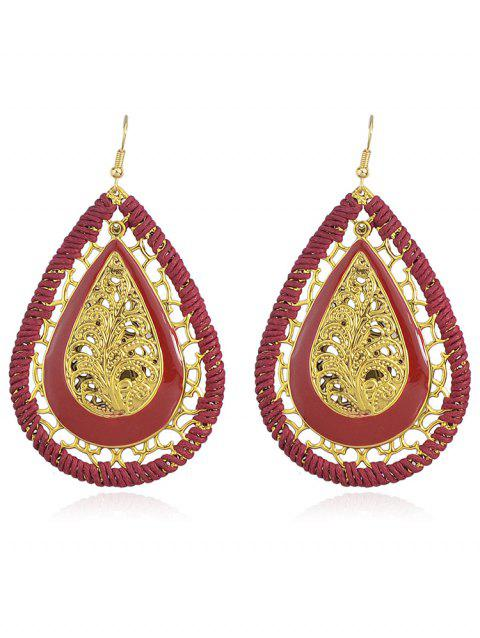 Hollow out Water Drop Design Hook Earrings - RED