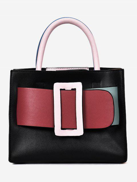 Contrasting Color Buckled Daily Working Handbag with Strap - BLACK