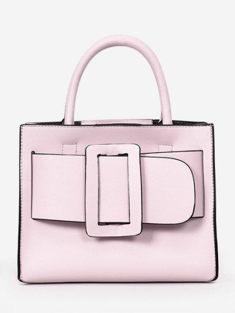 Contrasting Color Buckled Daily Working Handbag with Strap - PINK