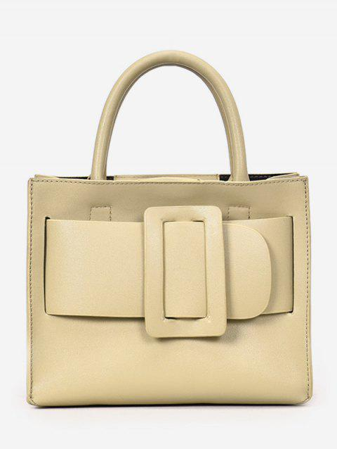 Contrasting Color Buckled Daily Working Handbag with Strap - LIGHT KHAKI