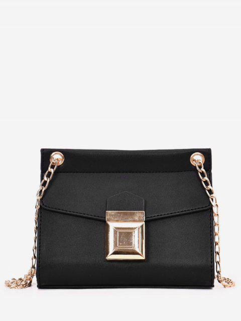 Flap Metal Leisure Shopping PU Leather Chain Bag - BLACK