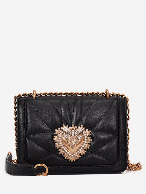 PU Leather Quilted Metallic Flapped Sling Bag - BLACK