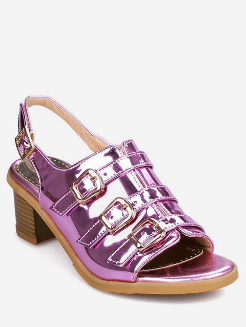Plus Size Multi Buckles Block Heel Chic Sandals - MEDIUM VIOLET RED 42