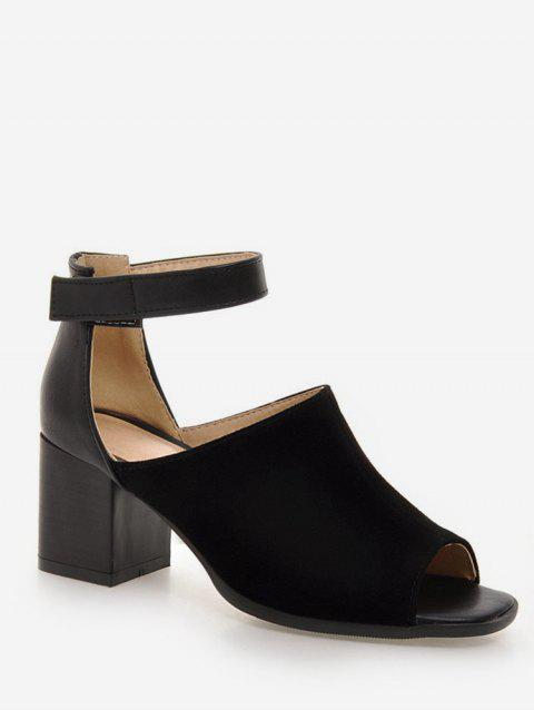 Plus Size Low Heel Ankle Strap Daily Sandals - BLACK 41