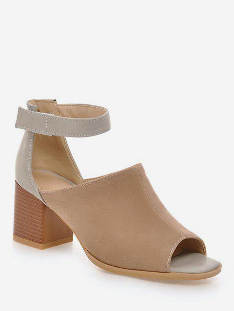 Plus Size Low Heel Ankle Strap Daily Sandals - CAMEL BROWN 42