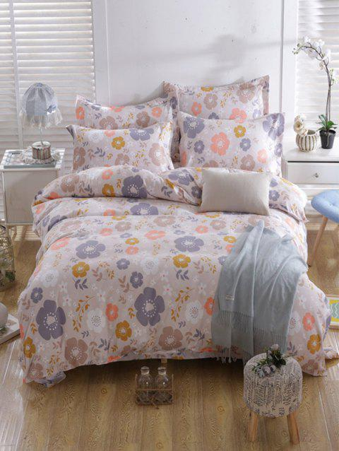 3Pcs Tiny Flower Print Queen Size Bedding Set - multicolor