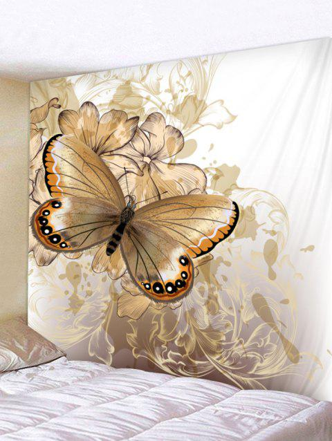 Vintage Butterfly and Flowers Print Tapestry Wall Art Decor - MILK WHITE W59 INCH * L51 INCH