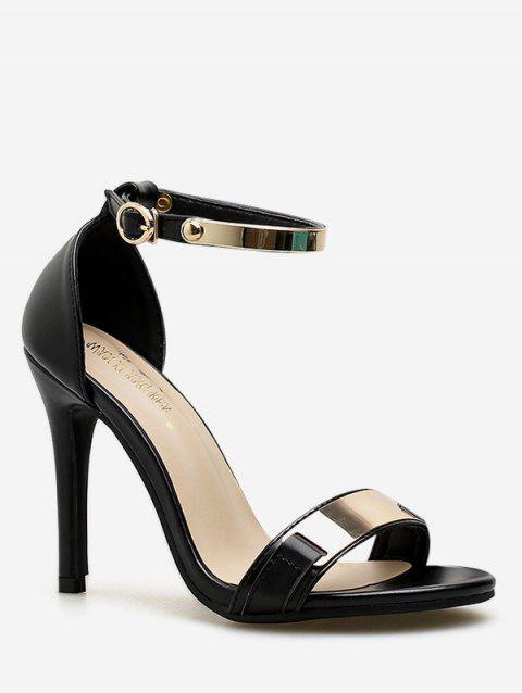 Ankle Strap Metal Panel High Heel Pumps - BLACK 40
