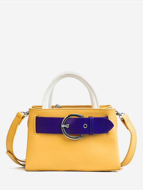 Minimalist Color Block Buckled Retro Handbag - BEE YELLOW