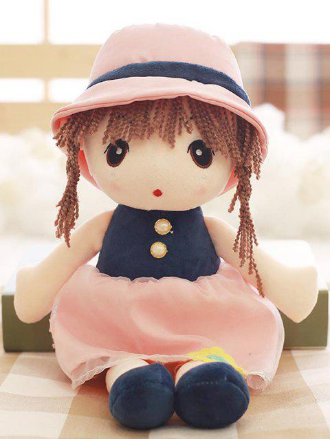 Faux Pearl Dress Girl Shaped Plush Toy - PINK