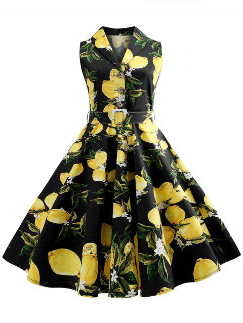 Lemon Print Belted A Line Dress - BLACK 2XL