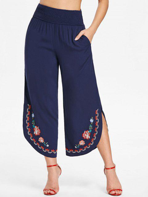 Floral Embroidery Wide Leg Pants - MIDNIGHT BLUE S