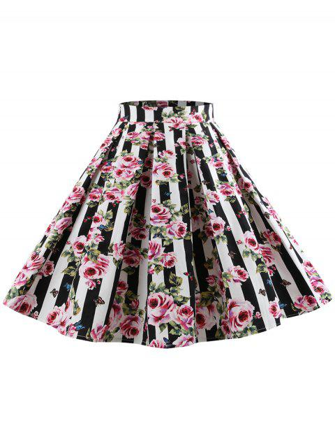 High Waist Floral Print Skirt - multicolor S