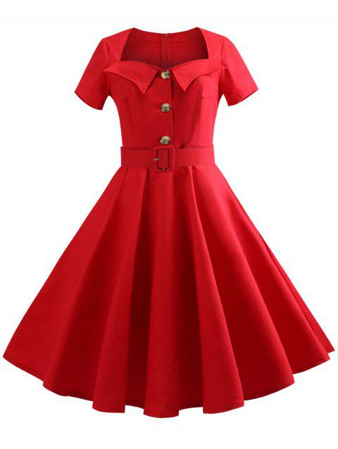 Sweetheart Neck Vintage Dress with Belt - RED M