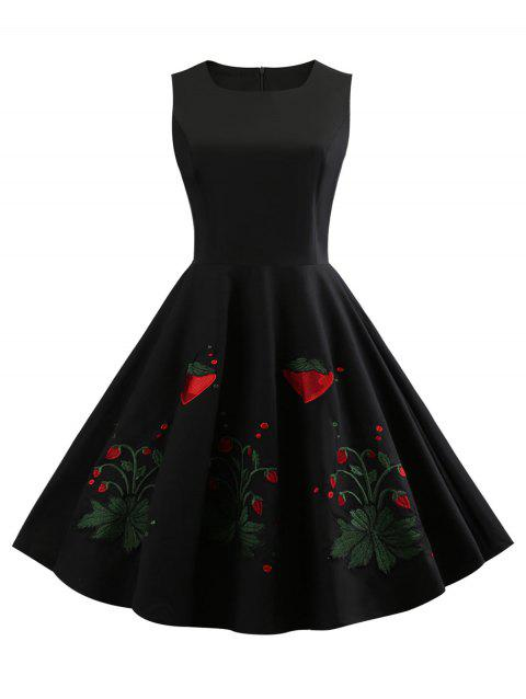 Sleeveless Strawberry Embroidery Swing Dress - BLACK L