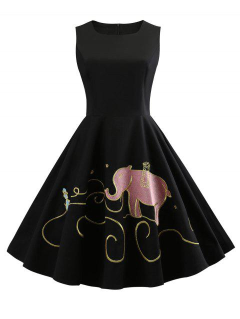 Sleeveless Elephant Embroidery Swing Dress - BLACK M