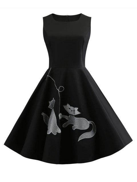Round Neck Cat Embroidery Swing Dress - BLACK S