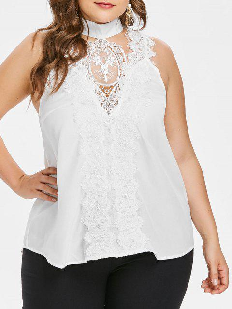 Plus Size Cut Out Lace Tank Top - WHITE 1X