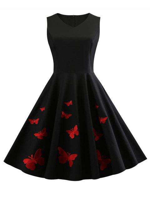 Sleeveless Butterfly Embroidery Vintage Dress - BLACK M