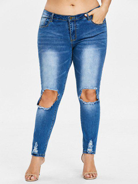 Plus Size Frayed Destroyed Skinny Jeans - JEANS BLUE 4X