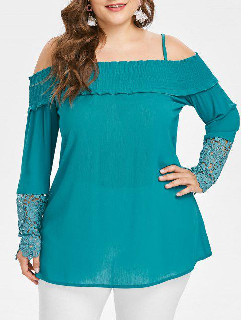 Plus Size Cold Shoulder Blouse - MACAW BLUE GREEN 3X