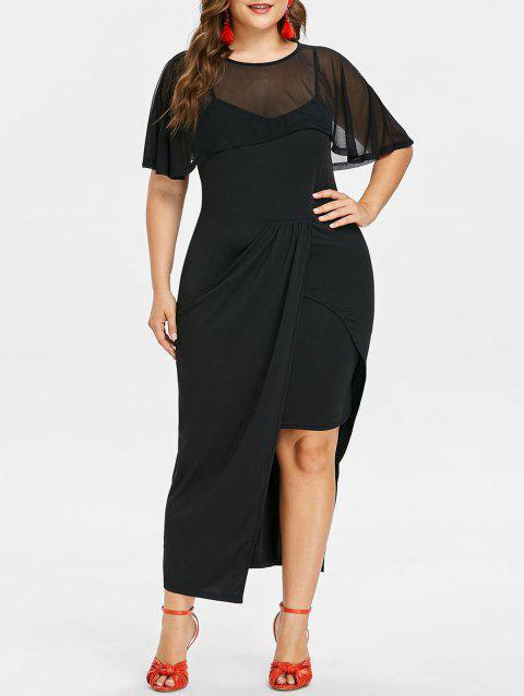 Plus Size Mesh Popover Long Tight Dress - BLACK 1X