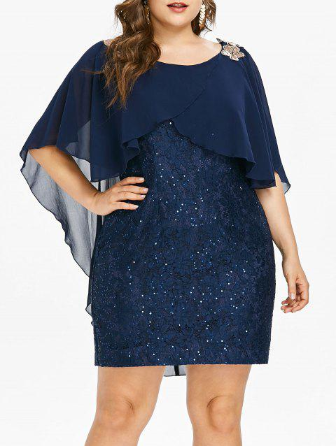Robe Superposée Paillettes Embellies Grande Taille - Cadetblue 5X