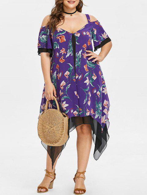 Half Sleeve Plus Size Floral Print Asymmetrical Dress - PURPLE 1X