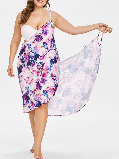 Floral Ink Print Plus Size Bikini Wrap Dress - PURPLE DAFFODIL 4X