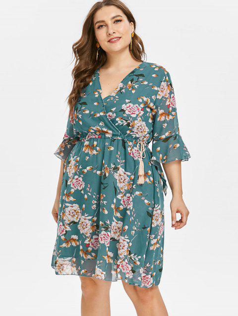 Floral Plus Size Skater Dress - DARK TURQUOISE 3X