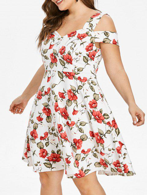 a27a698b50f9 58% OFF] 2019 Sweetheart Neck Plus Size Floral Print A Line Dress In ...