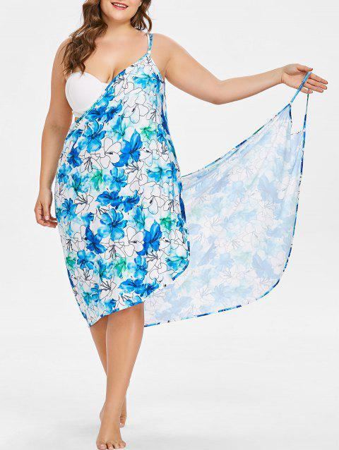 Floral Handpainted Plus Size Bikini Wrap Dress - LIGHT BLUE 1X